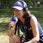 Wendy Hoad in actie op de Hilversumsche golfbaan als Arrow Jazz Golf Rad...